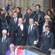 Monseigneur Di Falco, Pascal Desprez, Alain Delon, Anthony Delon, Véronique de Villèle, Yves Dahan - Sorties des obsèques de Mireille Darc en l'église Saint-Sulpice à Paris. Le 1er septembre 2017