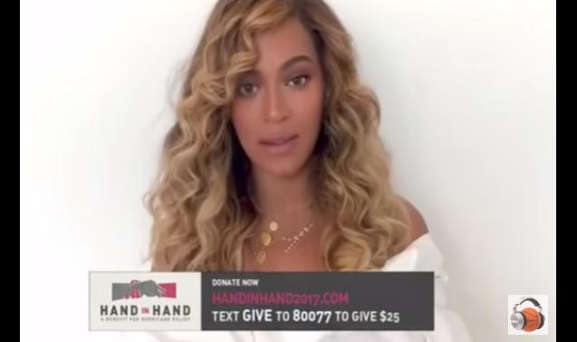 Beyoncé mobilisée pour le téléthon Hand in Hand organisé au profit des victimes des ouragans Harvey et Irma le 12 septembre 2017