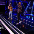 "Soprano et Marina Kaye interprètent ""Mon Everest"" en duo lors de la demi-finale de ""The Voice Kids 4"" (TF1), le 23 septembre 2017."