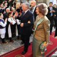 La reine Sofía d'Espagne et le prince Alexander au mariage à Belgrade, le 7 octobre 2017, du prince Philip de Serbie, fils du prince héritier Alexander de Serbie et de la princesse Maria da Gloria d'Orléans-Bragance, et de Danica Marinkovic.