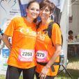 Leslie et sa mère Laurence Lemarchal - La course des héros au parc de Saint-Cloud le 22 juin 2014.