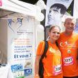 Info - Leslie Lemarchal, soeur de Grégory Lemarchal, est enceinte de son premier enfant - Laurence et Pierre Lemarchal et leur fille Leslie (parents et soeur de Grégory Lemarchal) - La course des héros au parc de Saint-Cloud le 22 juin 2014.22/06/2014 - Saint Cloud