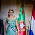 La reine Maxima des Pays-Bas - Le roi et la reine des Pays-Bas lors d'un dîner d'état au Palais national d'Ajuda lors de leur visite officielle à Lisbonne, le 10 octobre 2017.  Dutch royals at a state dinner at Palacio da Ajuda, Lisbon, Portugal - 10 Oct 201710/10/2017 - Lisbonne