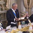 Le roi Willem Alexander et la reine Maxima des Pays-Bas et Marcelo Rebelo de Sousa (le président de la République portuguaise) - Le roi et la reine des Pays-Bas lors d'un dîner d'état au Palais national d'Ajuda lors de leur visite officielle à Lisbonne, le 10 octobre 2017.  Dutch royals at a state dinner at Palacio da Ajuda, Lisbon, Portugal - 10 Oct 201710/10/2017 - Lisbonne