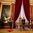 Le roi Willem-Alexander et la reine Maxima des Pays-Bas reçus par le maire de Lisbonne Fernando Medina lors d'une visite d'état au Portugal le 10 octobre 2017. 10/10/2017 - Lisbonne