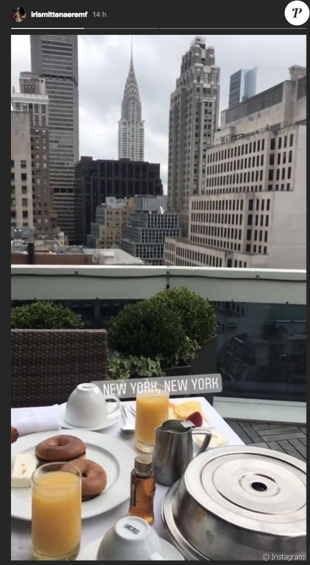 Iris Mittenaere prend un petit-déjeuner avec Kev Adams à New York. Octobre 2017.
