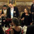 Le roi Felipe VI et la reine Letizia d'Espagne donnaient le 6 novembre 2017 au palais royal à Madrid un dîner de gala en l'honneur du président de l'Etat d'Israël Reuven Rivlin et sa femme Nechama Rivlin, en visite officielle pour fêter 30 ans de relations diplomatiques.