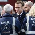 Le Président de la République, Emmanuel Macron lors de la commémoration du second anniversaire des attentats du 13 novembre 2015 au Bataclan à Paris le 13 novembre 2017. © Stéphane Lemouton / Bestimage