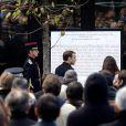 Le Président de la République, Emmanuel Macron et Anne Hidalgo, maire de Paris lors de la commémoration du second anniversaire des attentats du 13 novembre 2015 au Bataclan à Paris le 13 novembre 2017. © Stéphane Lemouton / Bestimage