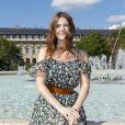 Elodie Frégé - Présentation Petit Bateau x Marie-Agnès Gillot dans le bassin du jardin du Palais Royal à Paris, France, le 3 juillet 2017.