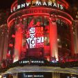 """Façade du BHV Marais lors de l'inauguration de """"God Jul ! Joyeux Noël Danois"""" au BHV Marais, le 15 novembre 2017 à Paris. Pour les fêtes de fin d'année 2017, le grand magasin parisien a choisi de mettre le Danemark à l'honneur à travers les illuminations de sa façade, ses vitrines de Noël, inspirées d'Andersen, et divers stands faisant la part belle aux produits et traditions danois. © Giancarlo Gorassini/Bestimage"""