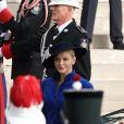La princesse Charlène de Monaco - La famille princière de Monaco dans la cour du Palais Princier lors de la fête nationale monégasque, à Monaco, le 19 novembre 2017. ©© Jean-Charles Vinaj/Pool restreint Monaco/Bestimage