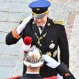 Le prince Albert II de Monaco - La famille princière de Monaco dans la cour du Palais Princier lors de la fête nationale monégasque, à Monaco, le 19 novembre 2017. ©© Jean-Charles Vinaj/Pool restreint Monaco/Bestimage