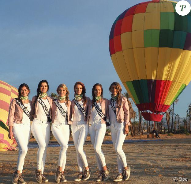 Miss Île-de-France, Miss Franche-Comté, Miss Languedoc-Roussillon, Miss Nord-pas-de-Calais, Miss Picardie et Miss Corse en Californie, lors d'une activité montgolfière, le 20 novembre 2017.