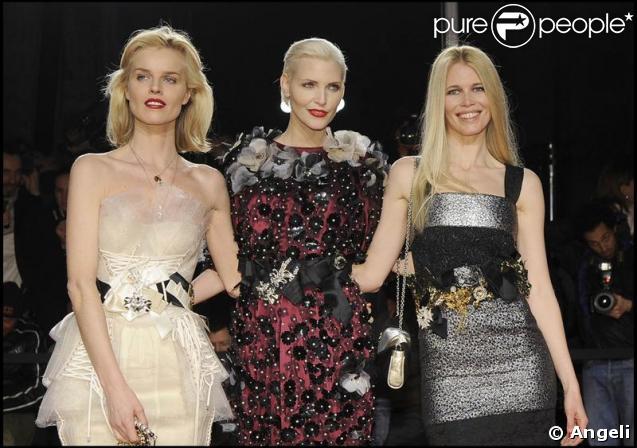 Claudia Schiffer, Eva Herzigova et Nadja Auermann à la soirée Vogue lundi soir à Milan