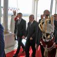 Le président Emmanuel Macron est accueilli à l'aéroport de Alger par A .Bensalah, le président du conseil de la nation le 6 décembre 2017. @ Ludovic Marin / Pool / Bestimage