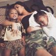 Kim Kardashian et ses deux enfants, Saint et North West. Août 2017.
