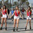 Exclusif - Lison Di Martino (Miss Ile-de-France 2017), Ophélie Forgit (Miss Poitou-Charentes 2017) et Anaïs Dufillo (Miss Midi-Pyrénées 2017) - Les 30 prétendantes au titre de Miss France 2018 font du roller et du vélo dans le quartier de Venice à Los Angeles, Californie, Etats-Unis, le 28 novembre 2017.