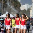 Exclusif - Kleofina Pnishi (Miss Provence 2017), Julia Sidi-Atman (Miss Cote-d'Azur 2017) et Ophélie Forgit (Miss Poitou-Charentes 2017) - Les 30 prétendantes au titre de Miss France 2018 font du roller et du vélo dans le quartier de Venice à Los Angeles, Californie, Etats-Unis, le 28 novembre 2017.