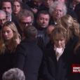 Emmanuel Macron, Nathalie Baye aux obsèques de Johnny Hallyday à Paris. Le 9 décembre 2017.