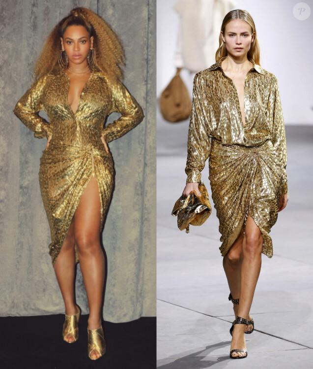 Beyoncé porte une chemise et une jupe Michael Kors Collection, collection automne-hiver 2017 portée par le top model Natasha Poly.