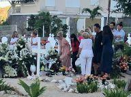 Laeticia Hallyday, Jade et Joy sur la tombe de Johnny à Saint-Barthélemy