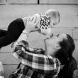 Antoine (7 mois), le fils de Jean-François Piège et de sa femme Elodie. 2016.
