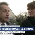 Nicolas Sarkozy et Carla Bruni se sont recueillis devant la dépouille de Johnny Hallyday au funérarium du Mont-Valérien dans les Haut-de-Seine, vendredi 8 décembre 2017.