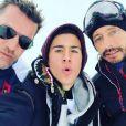 Benjamin Castaldi en vacances à Val-d'Isère, au ski, avec ses fils Simon et Enzo ainsi que son épouse Aurore Aleman, son beau-frère Bob Sinclar et les enfants de ce dernier : Paloma et Raphaël Le Friant.