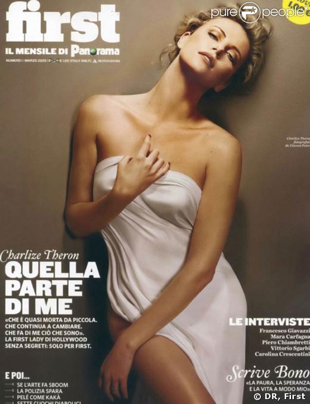 """Charlize Theron, superbe en couverture de """"First"""", est à l'affiche de """"Loin de la terre brûlée"""", à partir du 11 mars 2009, et bientôt dans le très attendu """"La Route"""" !"""