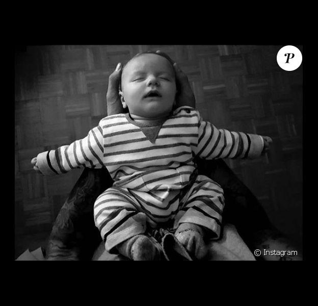 Benjamin Machet présente son fils Damien, le 18 janvier 2018.