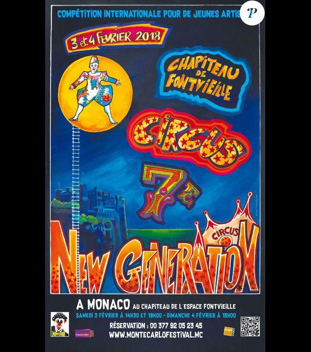 Affiche de la 7e édition du Festival New Generation, les 3 et 4 février 2018 à Monte-Carlo, présidé par Pauline Ducruet.