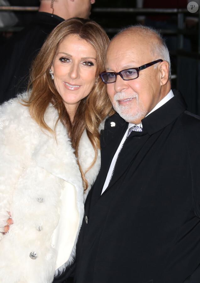 """Céline Dion et son mari René Angélil arrivent à l'enregistrement de l'émission """"Vivement dimanche"""" au studio Gabriel, à Paris, le 13 novembre 2013."""