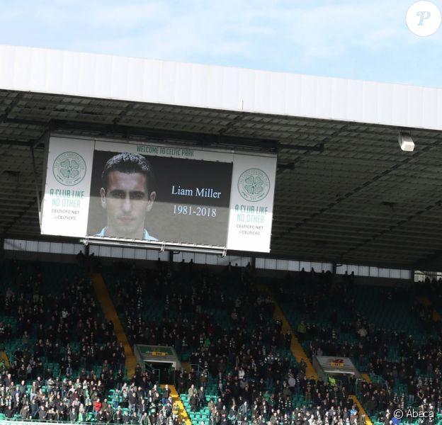 Hommage au joueur de football irlandais Liam Miller à Glasgow durant la Coupe d'Ecosse le 10 février 2018