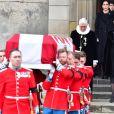 La reine Margrethe II, la princesse Mary, le prince Joachim, la princesse Isabella, le prince Christian - La famille royale de Danemark à la sortie des obsèques du prince Henrik de Danemark en l'église du château de Christianborg à Copenhague. Le 20 février 2018 20/02/2018 - Copenhague