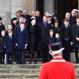 La princesse Mary, ses enfants, la princesse Josephine, le prince Vincent, la princesse Isabella, la princesse Benedikte, la princesse Anne-Marie, le prince Christian, le prince Frederik, la reine Margrethe II, le prince Joachim, la princesse Marie, le prince Felix, le prince Henrik, le prince Felix, la princesse Athena, le prince Nikolaï - La famille royale de Danemark à la sortie des obsèques du prince Henrik de Danemark en l'église du château de Christianborg à Copenhague. Le 20 février 2018 20/02/2018 - Copenhague