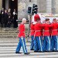 La famille royale de Danemark à la sortie des obsèques du prince Henrik de Danemark en l'église du château de Christianborg à Copenhague. Le 20 février 2018 20/02/2018 - Copenhague