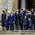 La reine Margrethe II de Danemark et la famille royale danoise assistent au départ du cercueil à l'issue des obsèques du prince Henrik de Danemark le 20 février 2018 en l'église du palais de Christiansborg à Copenhague.