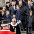 Le prince Frederik et le prince Joachim de Danemark en famille lors des obsèques de leur père le prince Henrik de Danemark le 20 février 2018 en l'église du palais de Christiansborg à Copenhague.