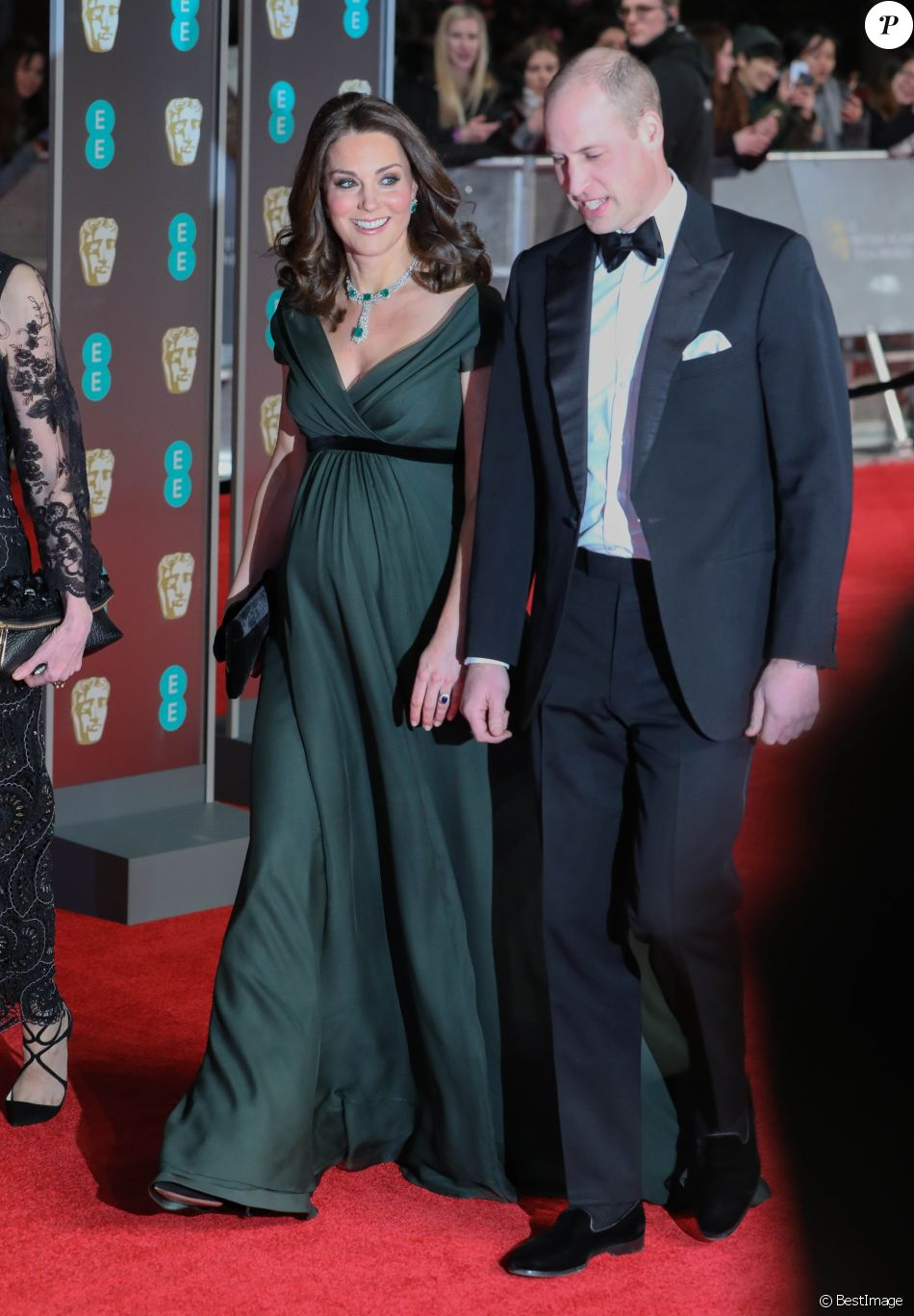 Kate Middleton (enceinte) et le prince William à la 71ème cérémonie des British Academy Film Awards (BAFTA) au Royal Abert Hall à Londres, le 18 février 2018.