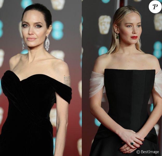 Angelina Jolie et Jennifer Lawrence - 71ème cérémonie des British Academy Film Awards (BAFTA) au Royal Abert Hall à Londres. Le 18 février 2018