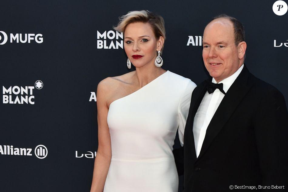 La princesse Charlene et le prince Albert II de Monaco lors des Laureus World Sports Awards 2018 au Sporting Monte-Carlo à Monaco le 27 février 2018. © Bruno Bebert / Bestimage