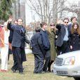 Les funérailles de Natasha Richardson dans l'église épiscopale de Millbrook dans l'état de New York le 22 mars 2009 : Vanessa Redgrave, Liam Neeson, leurs fils Michael et Daniel, la soeur de Natasha, Joely Richardson et sa fille