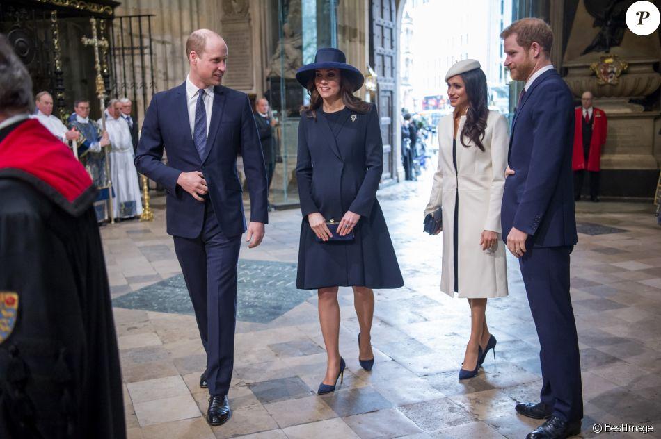 Le prince William, duc de Cambridge, la duchesse Catherine de Cambridge, enceinte, Meghan Markle et le prince Harry - La famille royale d'Angleterre lors de la cérémonie du Commonwealth en l'abbaye Westminster à Londres.