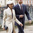 Meghan Markle et le prince Harry lors du service oecuménique pour le Commonwealth Day à l'abbaye de Westminster à Londres, le 12 mars 2018.