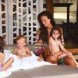 Jade Lagardère en vacances aux Maldives avec ses enfants. Janvier 2018.