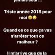 Rayane Bensetti inquiète avec de nouveaux messages alarmants sur Instagram, le 25 février 2018.