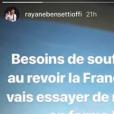 Rayane Bensetti s'éloigne de la France pour se ressourcer, le 14 mars 2018.