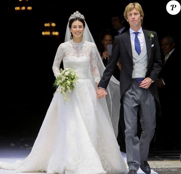 Alessandra de Osma portait une robe de mariée conçue par Jorge Vazquez le 16 mars 2018 lors de son mariage avec le prince Christian de Hanovre, à Lima au Pérou.