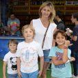 Sarah Lavoine avec ses fils Milo, Roman et un ami - Inauguration de la Fête des Tuileries à Paris le 26 juin 2015.